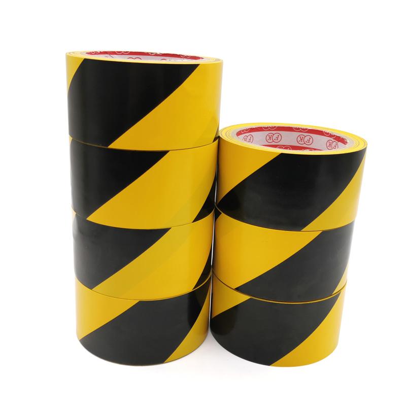 PVC警示胶带 地标线胶带 黄黑地板标识胶带